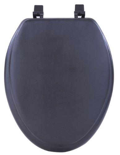 Fantasia 19 Inch Soft Elongated Vinyl Toilet Seat - Black