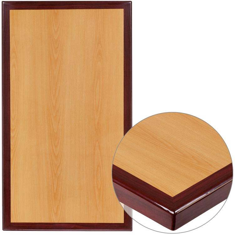 Rectangular Two-Tone Resin Cherry and Mahogany Table Top