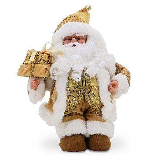 National Tree Glimmering Gold Santa with Music