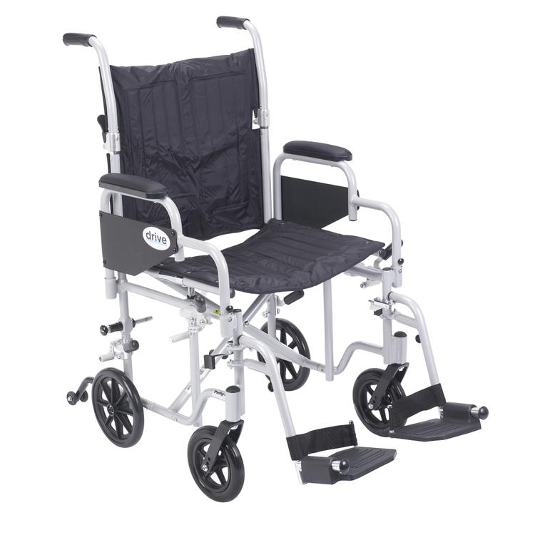Poly Fly Light Weight Transport Chair Wheelchair with Swing away Footrests, 20