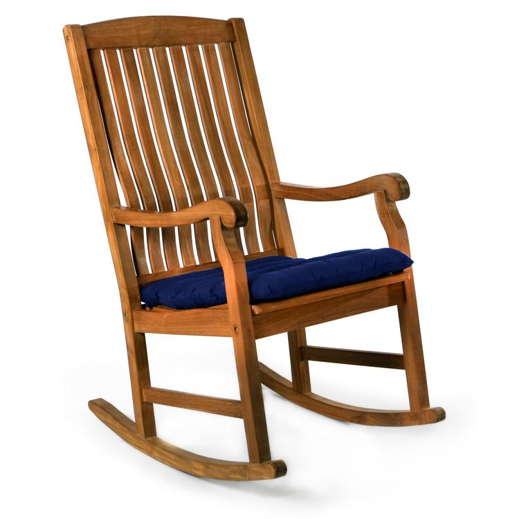 All Things Cedar Teak Rocking Chair & Cushion, Blue