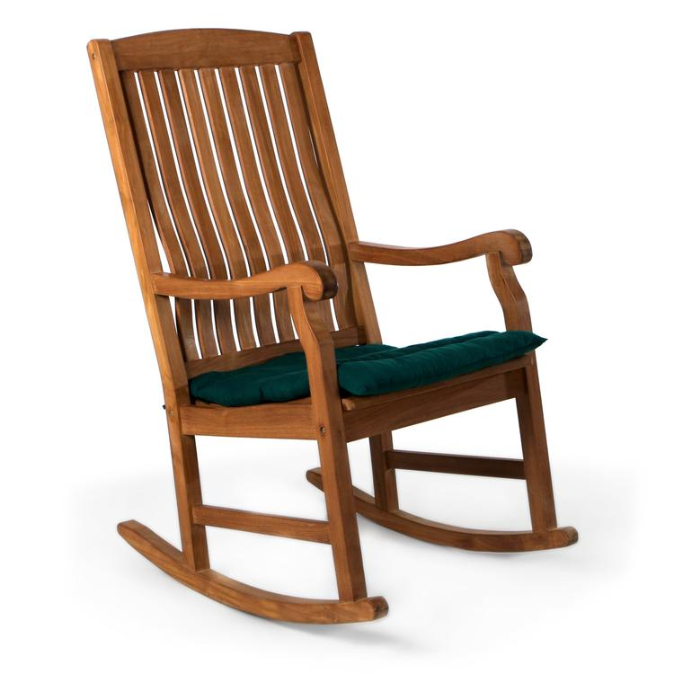 All Things Cedar Teak Rocking Chair & Cushion, Green