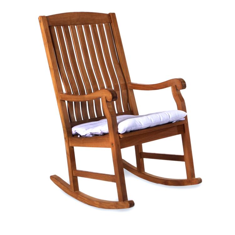All Things Cedar Teak Rocking Chair & Cushion, White