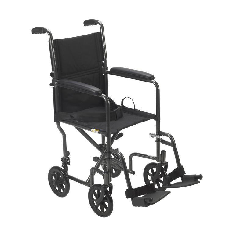 Lightweight Steel Transport Wheelchair, Fixed Full Arms, 19