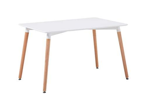 Commercial Seating Products Minimalist Mid Century Modern Design 32''x48'' Rectangular White Dining Table