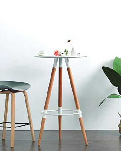 Commercial Seating Products Minimalist Mid Century Modern Design 14.5''x14.5'' Round White Bar height Table