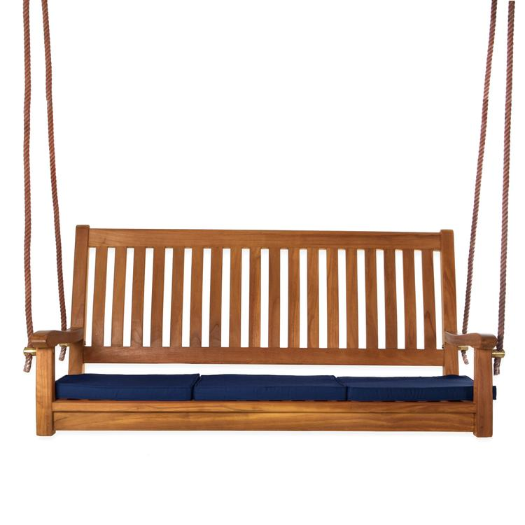All Things Cedar Teak Swing & Cushions, Blue
