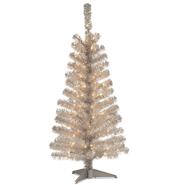 National Tree Tinsel Artificial Christmas Tree with Clear Lights [Item # TT33-300-40]