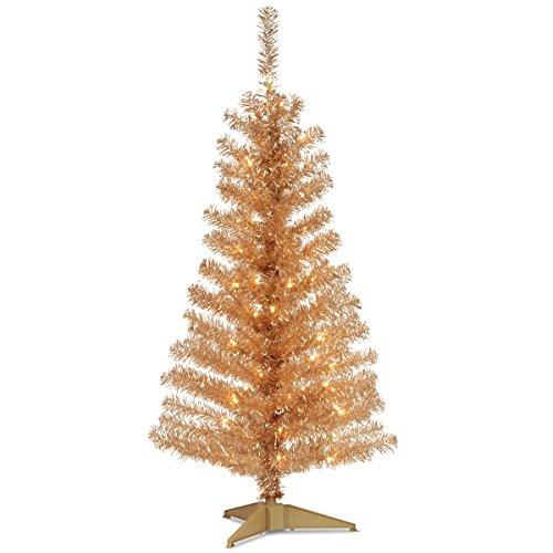 National Tree Silver Tinsel Tree with Clear Lights [Item # TT33-300-40]