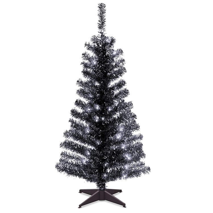 National Tree Black Tinsel Tree with Clear Lights