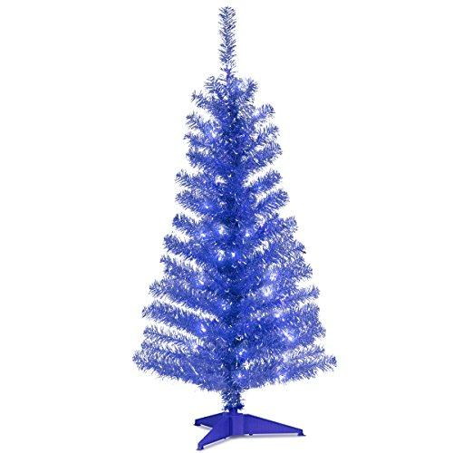 National Tree Blue Tinsel Tree with Clear Lights