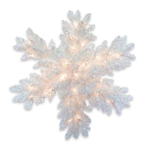 National Tree White Iridescent Tinsel Snowflake with Battery Operated Warm White LED Lights