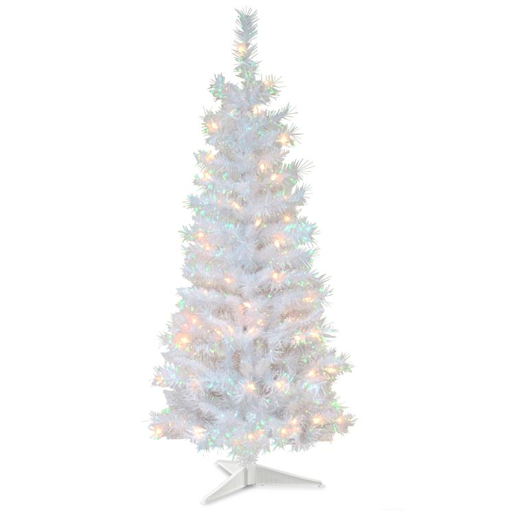 National Tree White Iridescent Tinsel Tree with Clear Lights [Item # TT33-313-40]