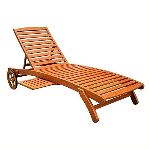 International Caravan Royal Tahiti Outdoor Wood Chaise Lounge With Wheels