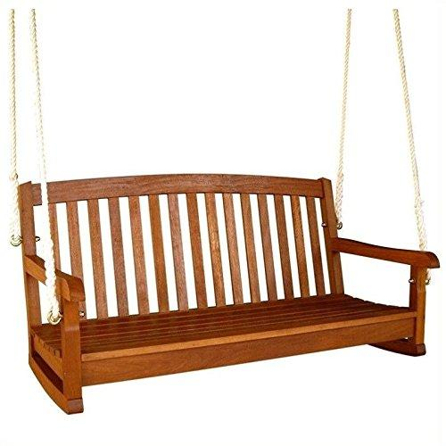 International Caravan Royal Tahiti Curved Back Wood Two Seated Swing