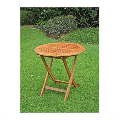 International Caravan Royal Tahiti Outdoor Wooden Round Folding Table