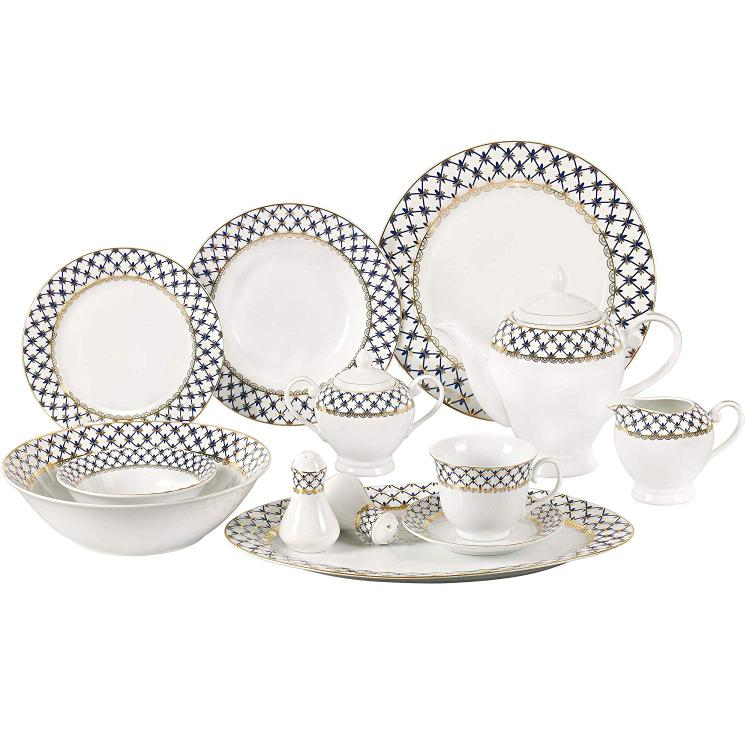 Lorren Home Trends 57 Piece Porcelain Dinnerware Set, Service 8 [Item # Tula-57]