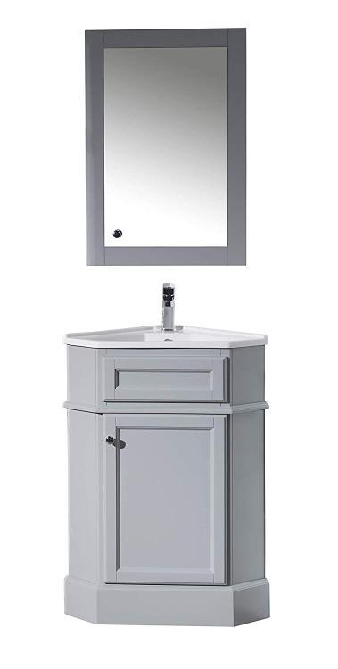 Stufurhome Hampton Corner Bathroom Vanity with Medicine Cabinet