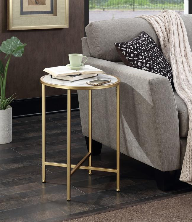 Gold Coast Faux Marble Round End Table