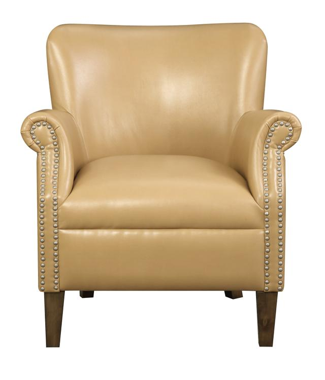 Emerald Home Oscar Gray Accent Chair with Faux Leather Upholstery And Nailhead Trim [Item # U3218-05-05]