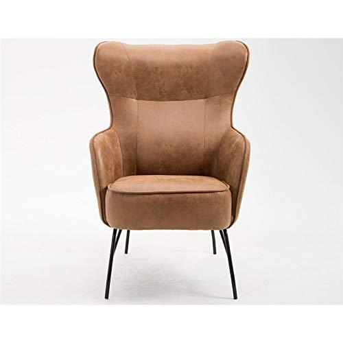 Emerald Home Franky Badlands Saddle and Black Accent Chair with Faux Leather Upholstery And Metal Base