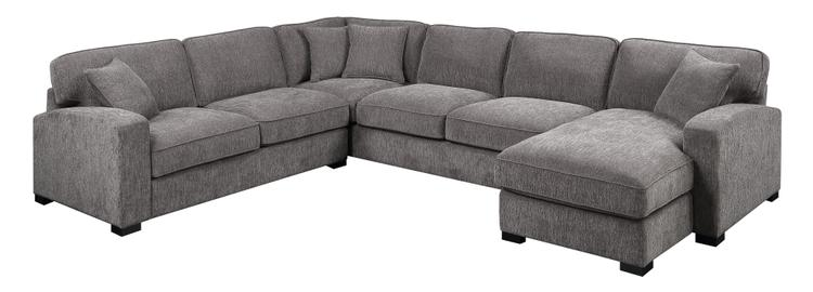 Emerald Home Repose Gray Sectional, with Pillows, Ultra Soft Fabric, Track Arms, And Block Legs [Item # U4174-11-31-12-03-K]