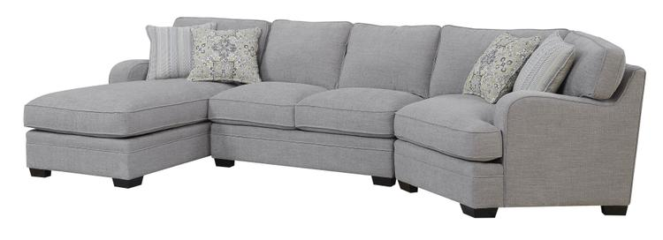 Emerald Home Analiese Linen Gray Chofa Sectional, with Pillows, Track Arms, Welt Seaming, And Block Feet [Item # U4315-11-12-16-03-K]