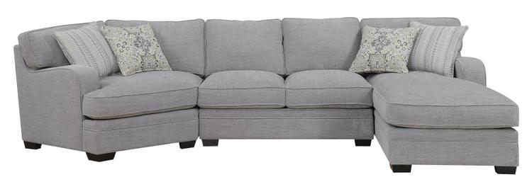 Emerald Home Analiese Linen Gray Chofa Sectional, with Pillows, Track Arms, Welt Seaming, And Block Feet [Item # U4315-29-16-30-03-K]