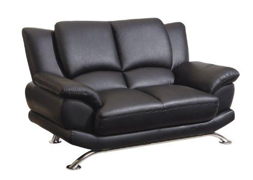 Global Furniture Bonded Leather And Leather Match Love Seat In Black With Chrome Legs