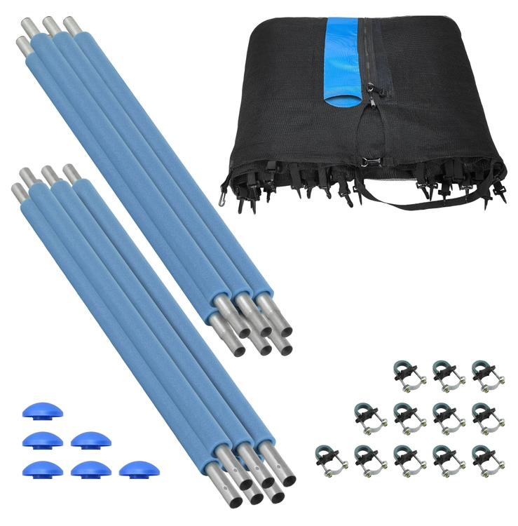 Trampoline Enclosure Set, to fit 13 FT. Round Frames, for 3 or 6 W-Shaped Legs -Set Includes: Net, Poles & Hardware Only