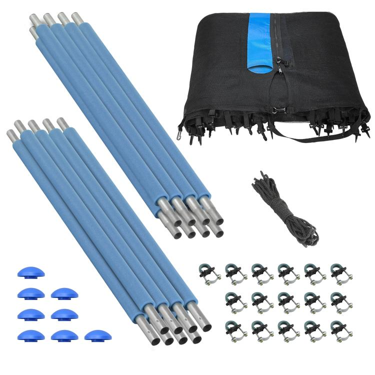 Trampoline Enclosure Set, to fit 13 FT. Round Frames, for 4 or 8 W-Shaped Legs -Set Includes: Net, Poles & Hardware Only