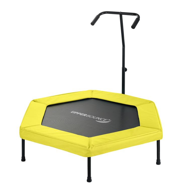 Upper Bounce 50? Hexagonal Fitness Mini-Trampoline - T-Shaped Adjustable Hand Rail - Bungee Cord Suspension - Yellow