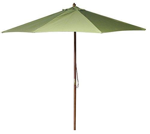 9 FT Wood Market Umbrella in Olive
