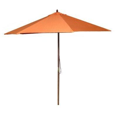 9 FT Wood Market Umbrella in Orange