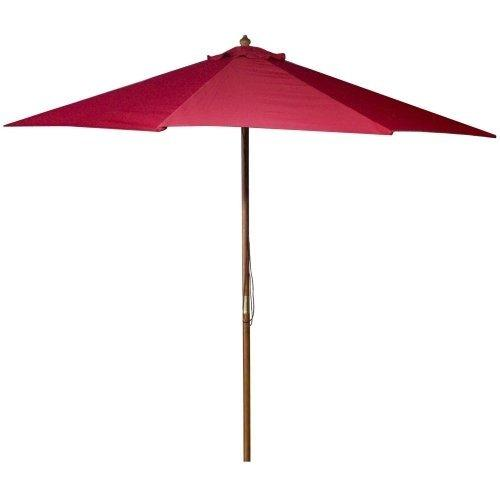 9 FT Wood Market Umbrella in Red