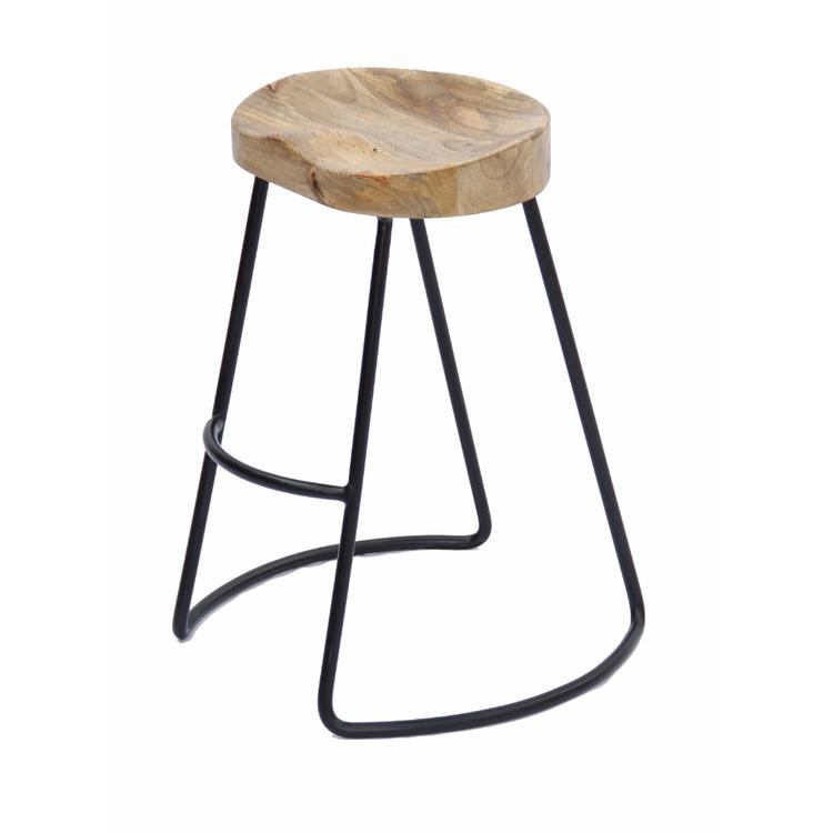 Benzara Wooden Saddle Seat Barstool with Metal Legs, Small, Brown and Black