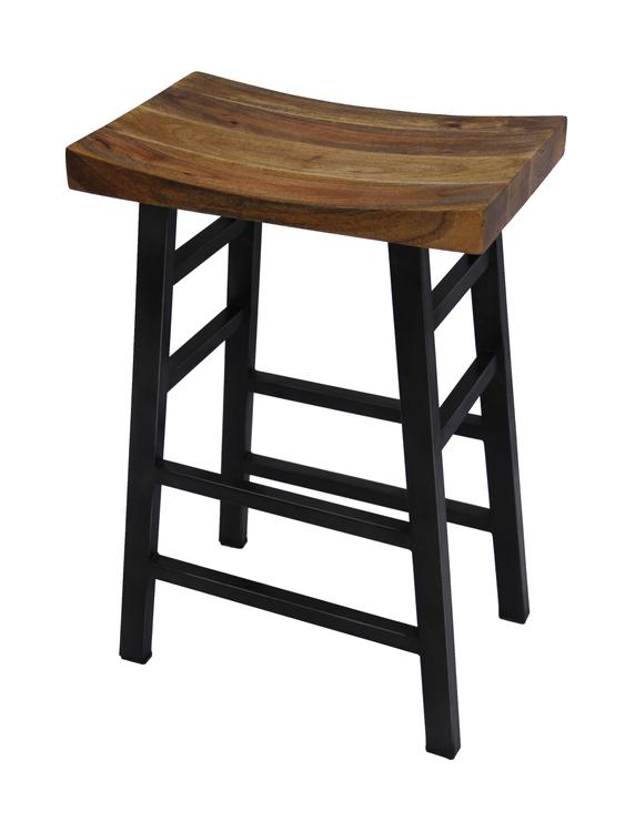 Benzara The Urban Port Wooden Saddle Seat 30 Inch Barstool With Ladder Base, Brown and Black [Item # UPT-636042216]