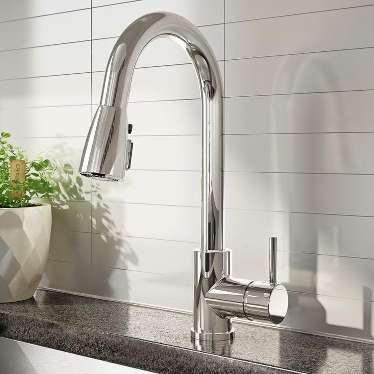 Keeney Belanger Pull Down Single Handle Kitchen Faucet in Polished Chrome