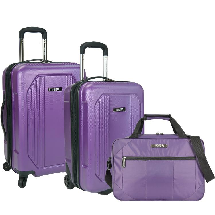 U.S. Traveler Bloomington 3-Piece Carry-On Spinner Luggage Set, Purple