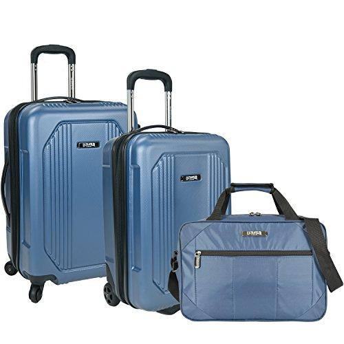 U.S. Traveler Bloomington 3-Piece Carry-On Spinner Luggage Set, Blue