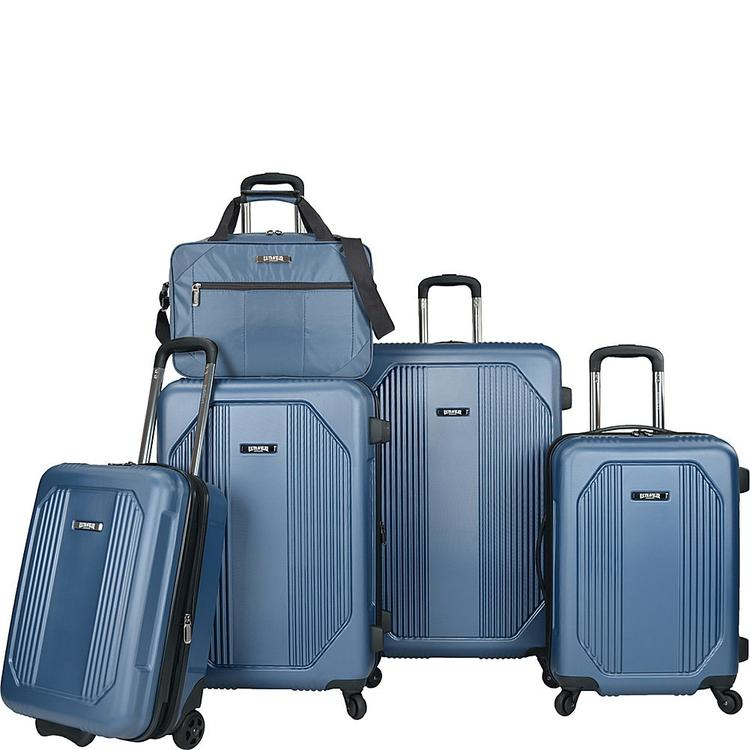 Travelers Choice U.S. Traveler Bloomington 5-Piece Spinner Luggage Set, Blue