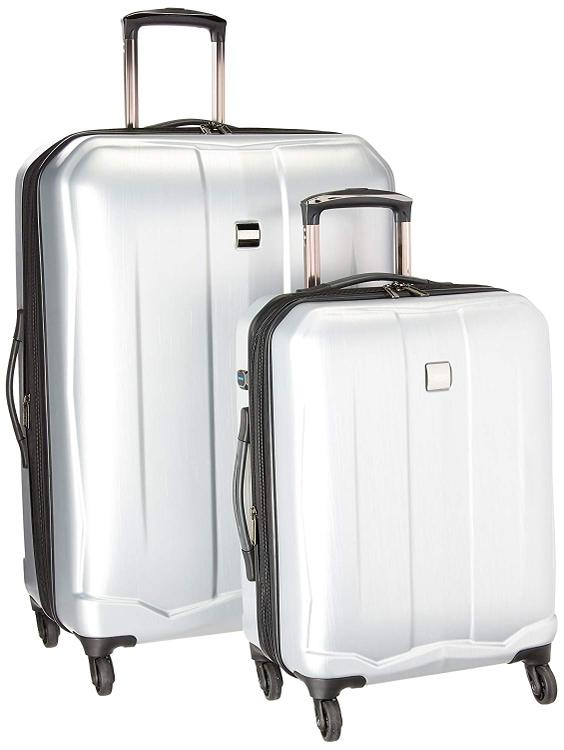 U.S. Traveler Piazza 2-Piece Smart Spinner Luggage Set, Silver