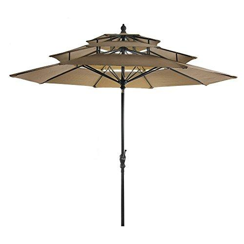 9FT 3-Tier Umbrella in Khaki