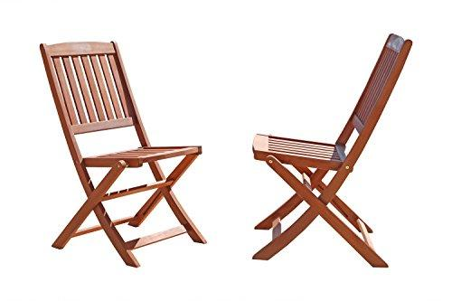 Outdoor Eucalyptus Wood Folding Bistro Chairs  (Set of 2)