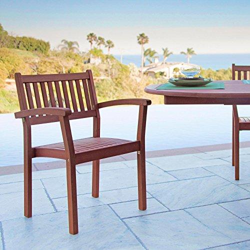 Stacking Eucalyptus Wood Dining Chair. Set of 4