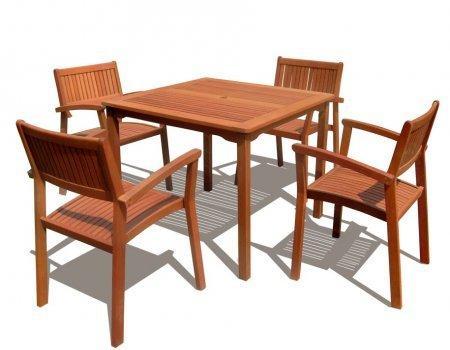 5-Piece Outdoor Eucalyptus Wood Dining Set