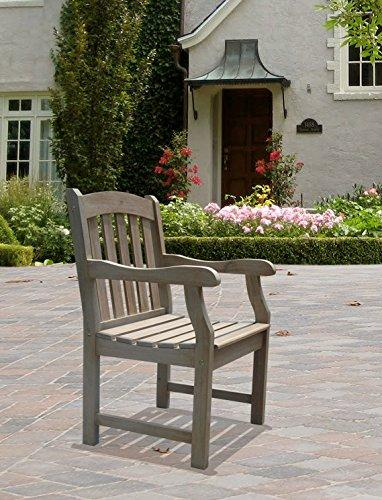 Renaissance Hand-scraped Acacia Slatted Back and Seat Outdoor Arm Chair [Item # V1295]