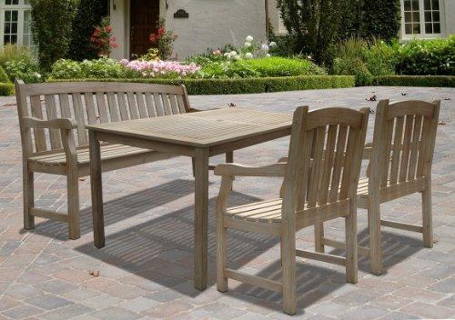 Renaissance Rectangular Table Bench-Arm ChairOutdoor Hand-scraped Hardwood Dining Set