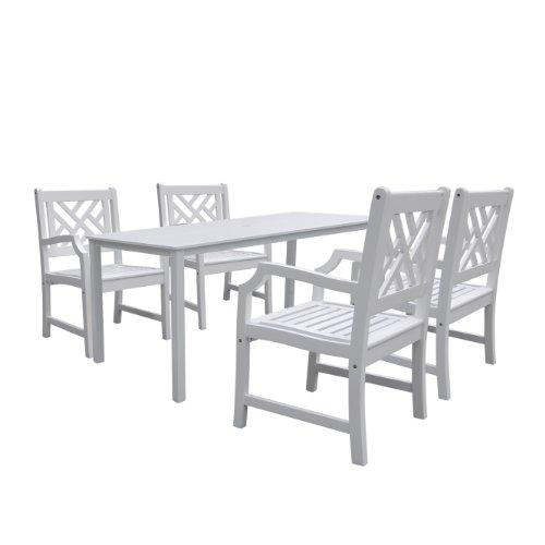 Bradley Rectangular Table & Arm ChairOutdoor Wood Dining Set 8