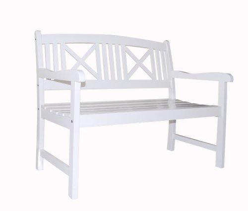Bradley Outdoor Wood White Bench [Item # V1353]